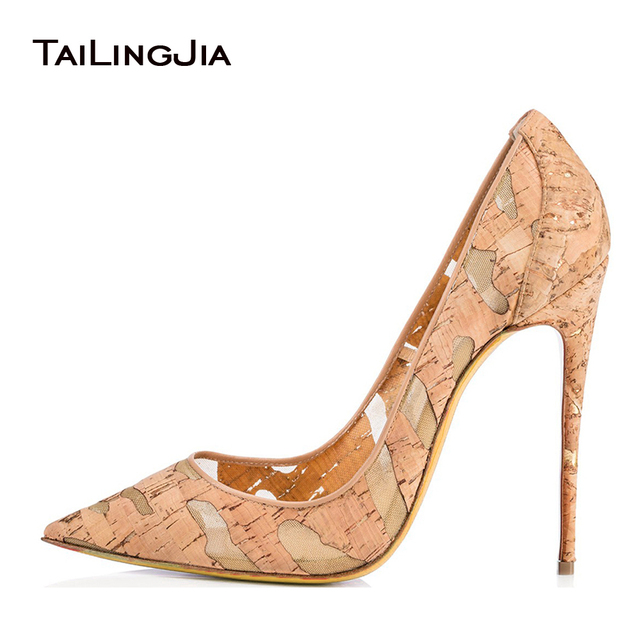 f302f27e8b US $53.99 10% OFF|2017 Women Mesh Extremely High Heels Ladies Thin Heel  Nude Pumps Pointed Stiletto Wedding Shoes Cork Kate Dress Shoes Plus Size  -in ...