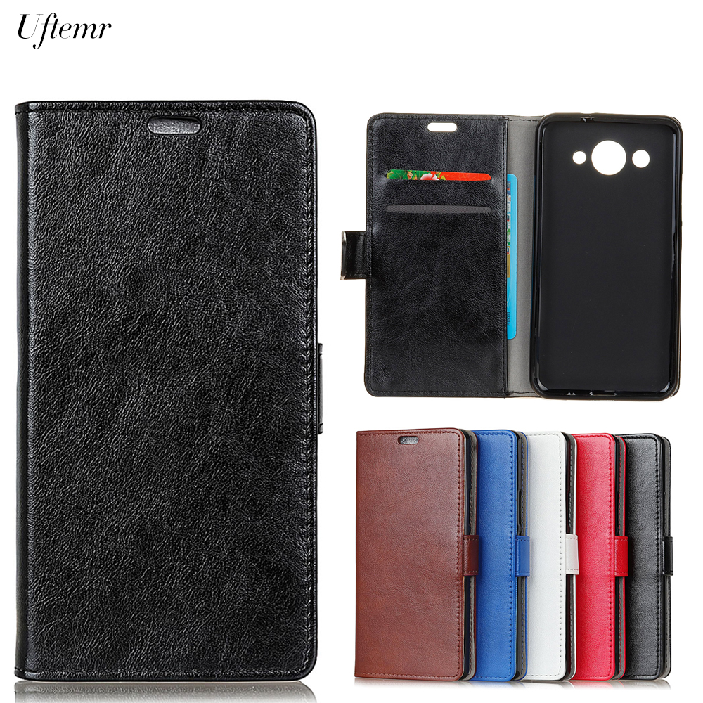 Uftemr Luxury Business Leather Case For Huawei Y3 2017 Crazy House Skin Flip Cover For Huawei Y3 2017 Phone Accessories