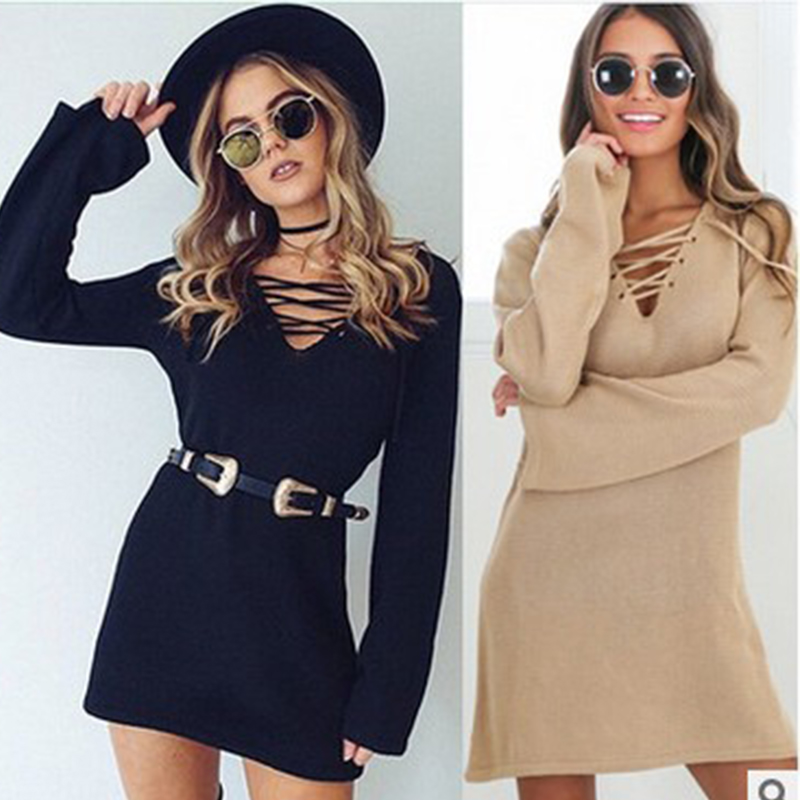 Dresses Winter Dress 2018 Women Plus Size XL Lace-up Cross Autumn Long Sleeve Wool Black Party Mini Tricot Knitted Sweater Dress