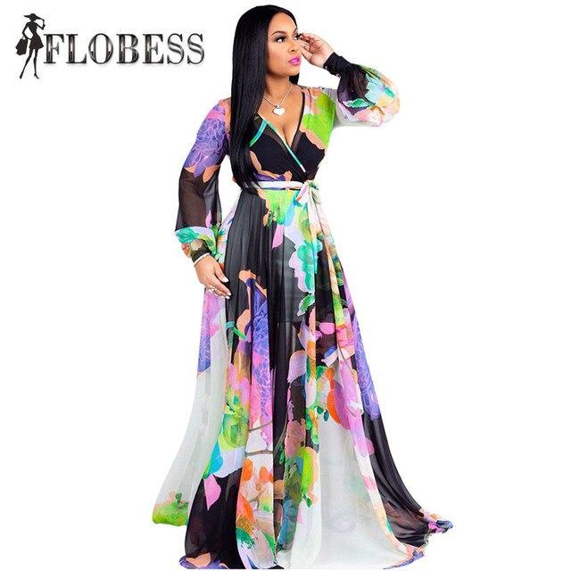 d79b516f67594 2018 Autumn Women Floral Print Vintage Maxi Dresses Boho Casual Long Sleeve  V Neck Loose Chiffon Party Dress Plus Size