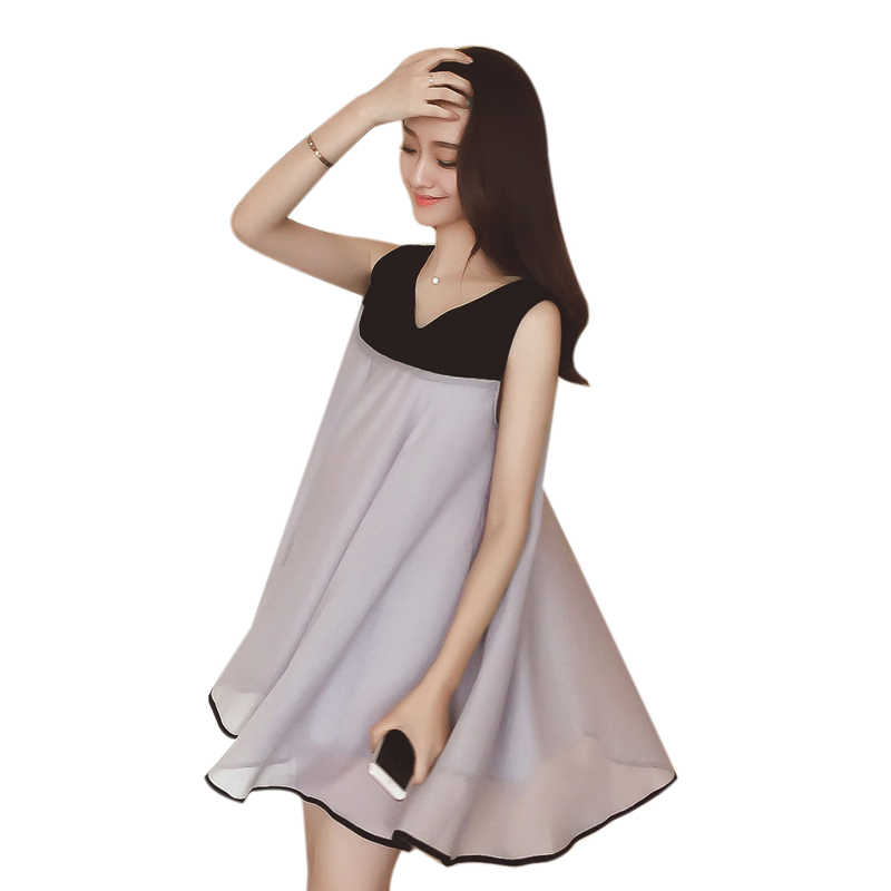 2019 Summer chiffon Korean style loose sleeveless pregnant women dress plus  size maternity chiffon dress princess ea6840871e90