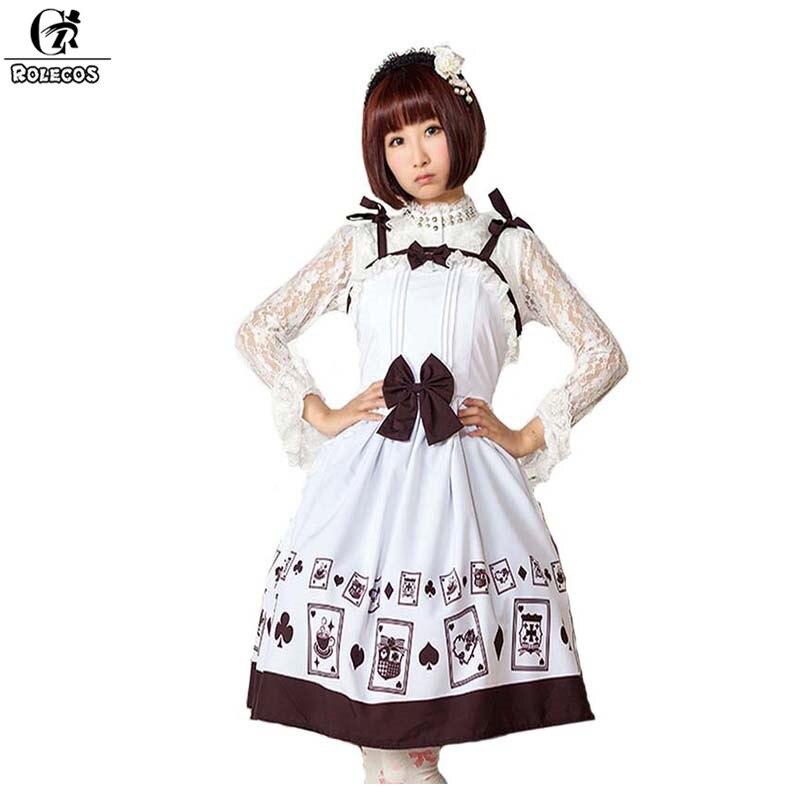 ROLECOS belle cartes à jouer imprimer robe pour les femmes noir Bownot sangle sans manches robe filles fête douce Lolita robe 2017 nouveau
