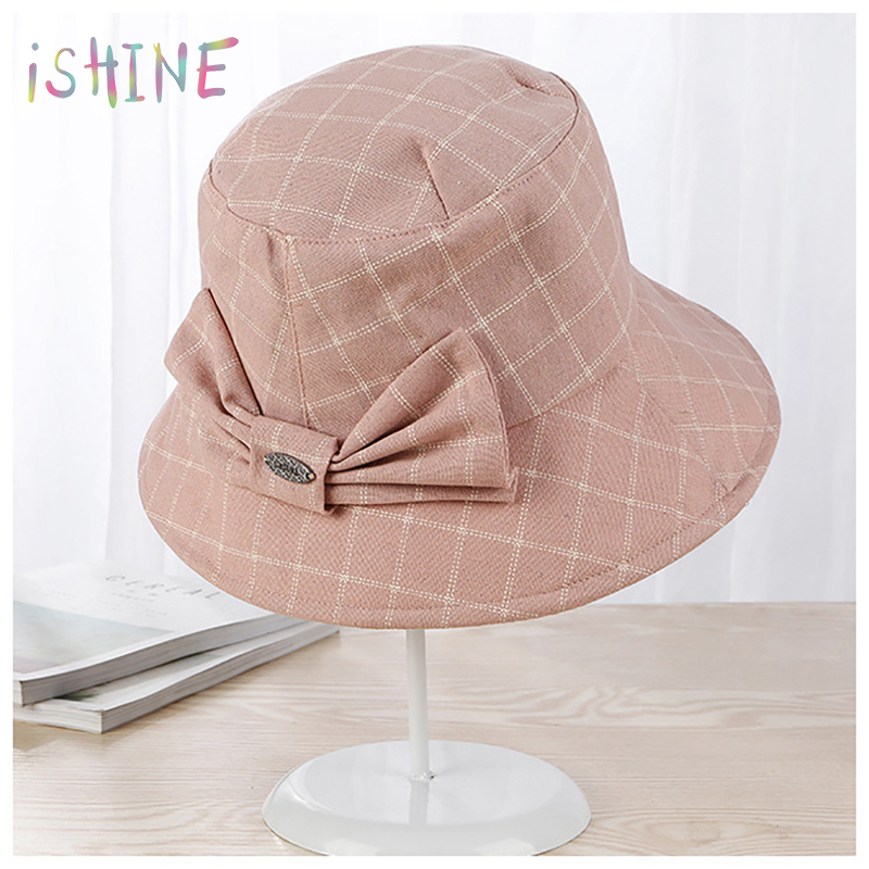 2018 Summer Hats For Women Plaid Bowknot Large Brim Beach Sun Hat Female Sunscreen Bucket Hat Beach Cloth Cap Hat (China)