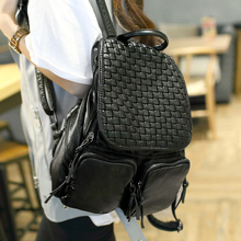 new women backpack 2016 original weaving soft pu leather fashion buff trip. Lady  Vintage Leather fashion black  Schoolbag