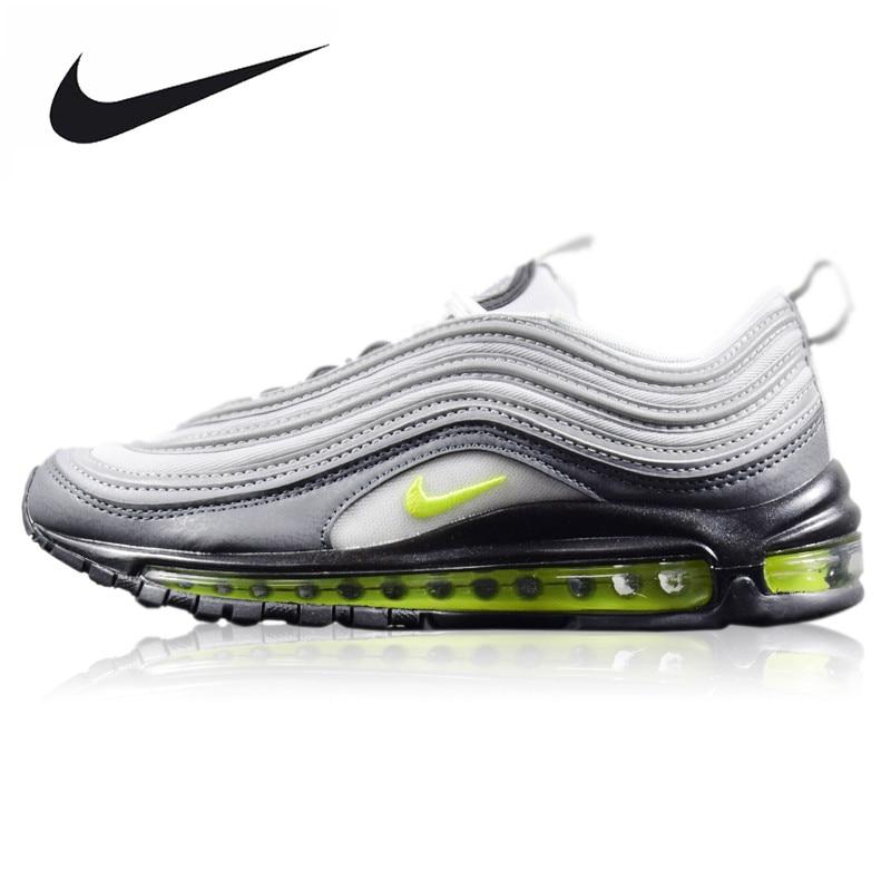 D'origine Nike WMNS Air Max 97 Néon Hommes de chaussures de course résistant à l'usure Lumière Gris Absorption Des Chocs Non-Slip respirant 921733-003