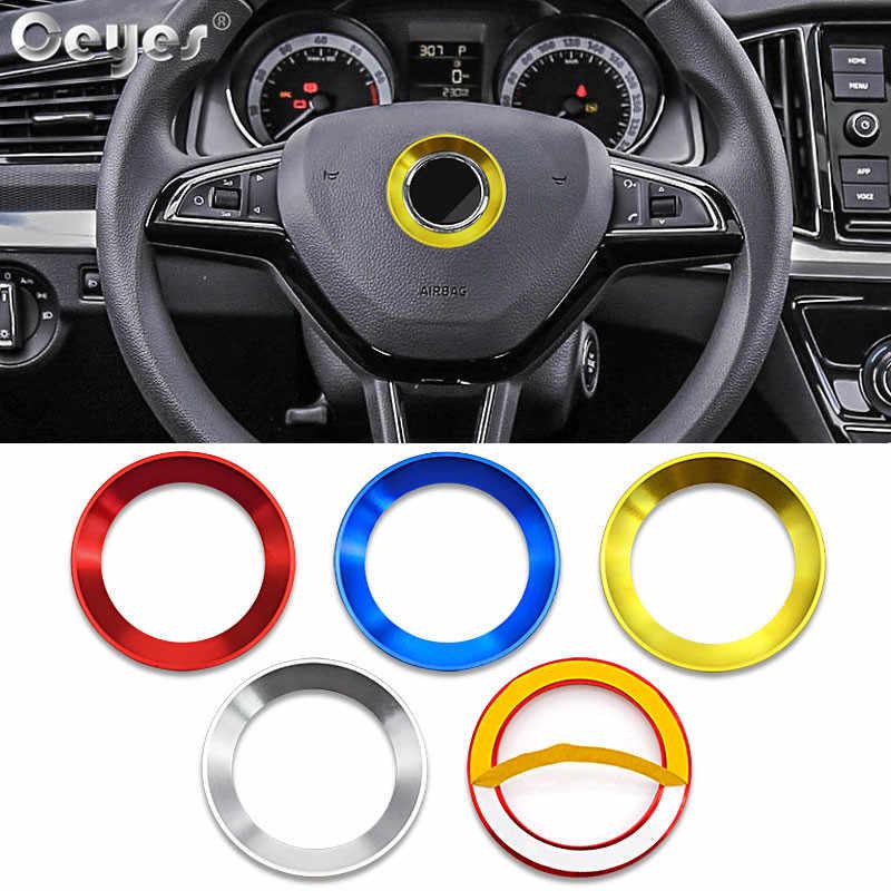 Ceyes voiture style volant décoration autocollant anneau pour coque pour Skoda Octavia A5 A7 Fabia Rapid Yeti superbe housse accessoires