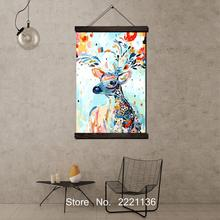 Cute Litter Deer HD Paint  Scroll Painting Wall Art Hanging Canvas Printed Pictures for Living Room Decoration