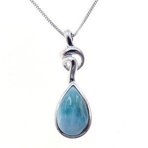 Image 3 - Pendentif Larimar en argent Sterling nouveauté, perles naturelles, 9x13mm, bijou fin pour femme, 925 goutte de larme, pour cadeau, breloque collier