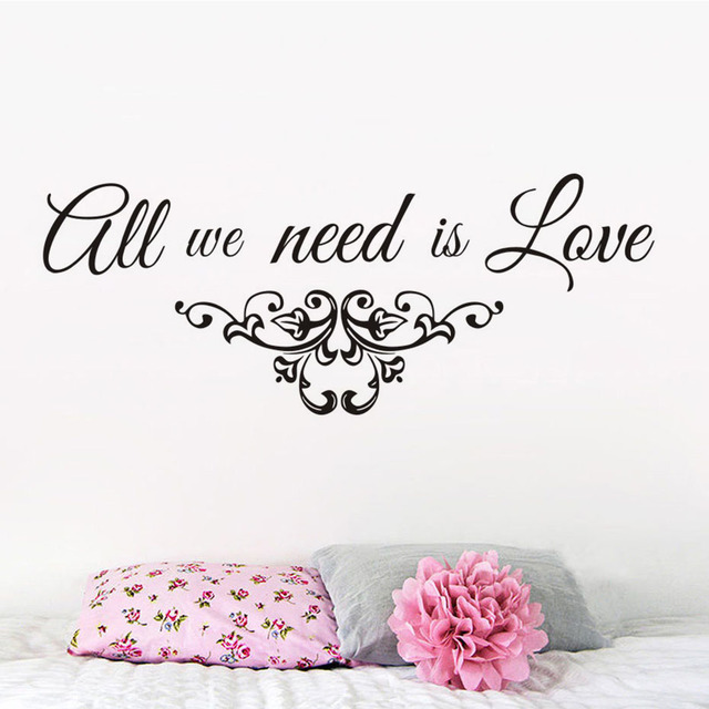 All We Need Is Love Quote Wall Sticker Wedding Family Lover Bedroom ...
