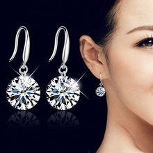 Silver Color Fashion Dangle Earring for Women Crystal AAA Cubic Zirconia Drop Earrings Stone Pendientes Mujer Moda(China)