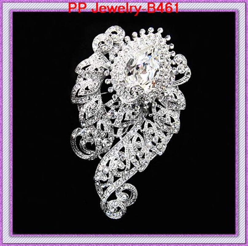 Free shippping Rhodium pated Crystal alloy (120pcs/lot) Luxury Elegant large brooches for wedding,party,gift,engagement,gift.etc