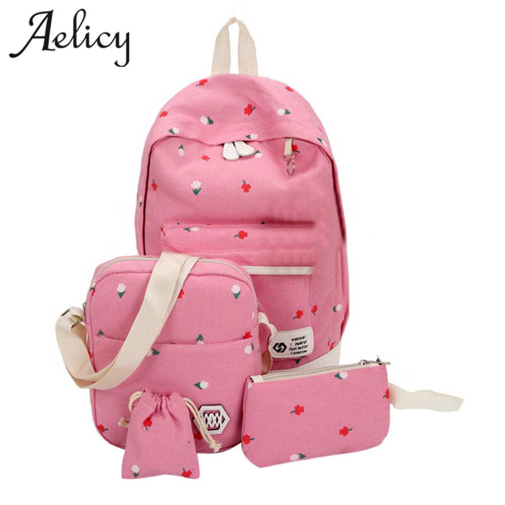 ba379eb30f4e Aelicy Backpack 4 Set Canvas Printing Backpacks Women Cute Bookbags Middle High  School Bags for Teenage Girls mochila feminina