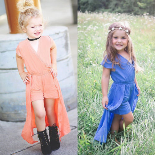 2018 Newest Fashion Toddler Baby Girls Kids V-neck Holiday Clothes Short Sleeve Party Romper Solid Long Dress stylish short sleeve scoop neck self tie romper for women