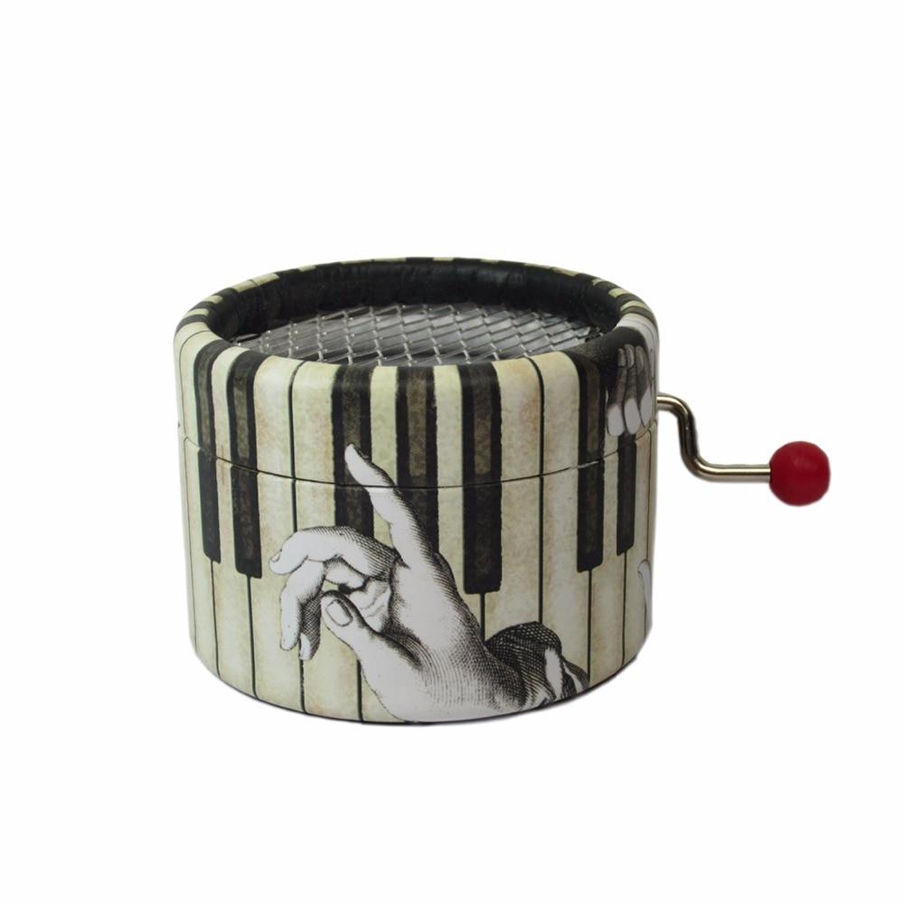 Piano Paper Round Hand Crank Music Box La Valse D'Amelie