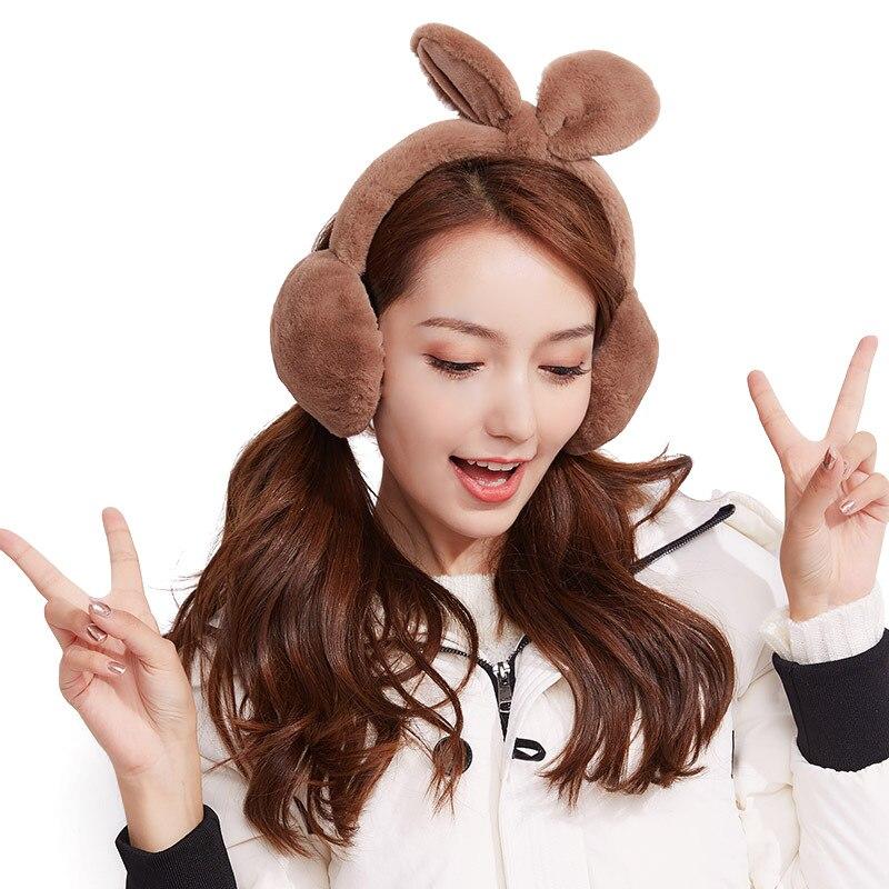 2018 New Autumn And Winter Warm Earmuffs Ladies Rabbit Ears Korean Cute Ear Protection Plus Velvet Windproof Ear Warmer