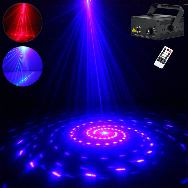 AUCD Mini 12 Pattern Red Blue Laser Projector Stage Light 3W Blue LED Mixing Effect DJ Party KTV Laser Show Stage Lighting Z12RB aucd 2 lens red blue rb beam pattern laser light dmx 7ch pro dj party club bar ktv holiday wedding stage lighting dj 506rgb