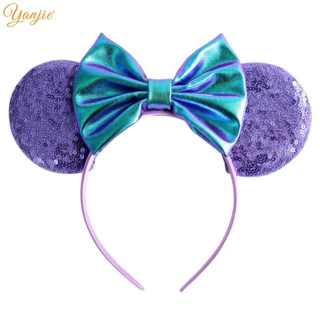 """5 """"Metallic Cabelo Arcos Minnie Mouse Ear Hairband Para Meninas Grandes Lantejoulas Ouvidos Chique DIY Crianças Acessórios de Cabelo Cabeça novas Cores"""