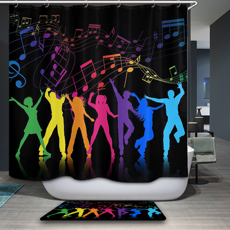 New Arrivals Home Decorative Shower Curtain Simple modern Cartoon Colorful Pattern Waterproof Bathroom Fabric Shower Curtain