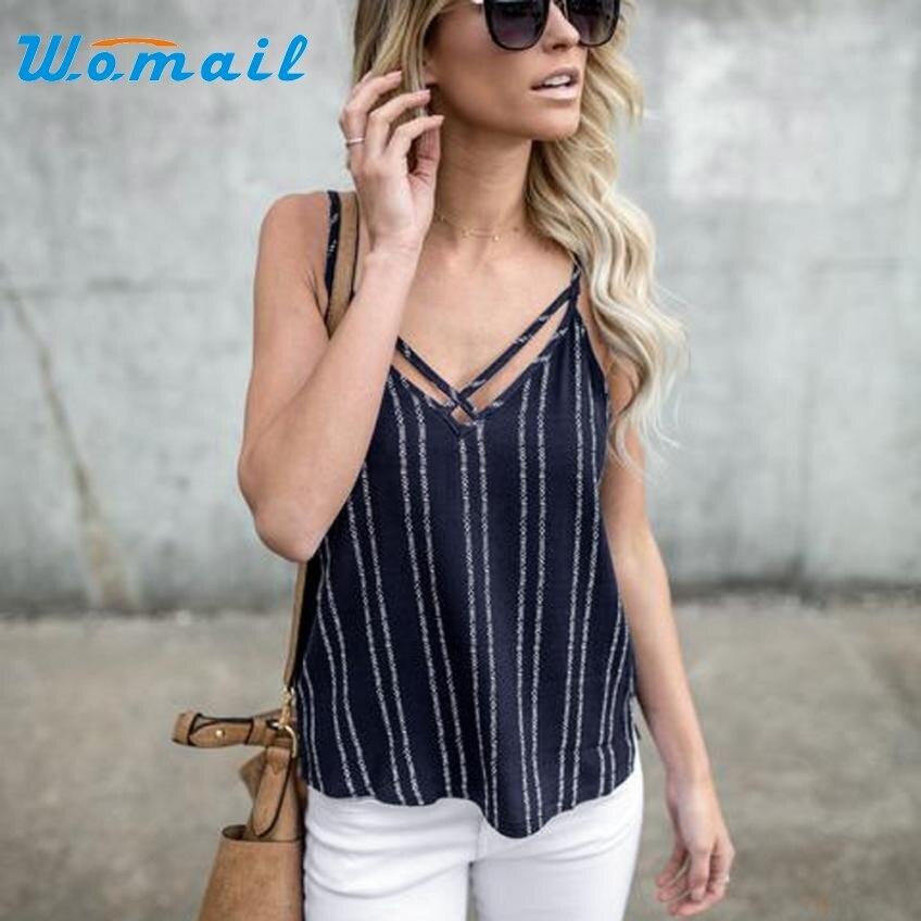 Hot 2017Newly Designed Summer Shirt Women Cloth Fashion Sexy Striped Tank Top Sleeveless Shirt Tops Levert Dropship 414