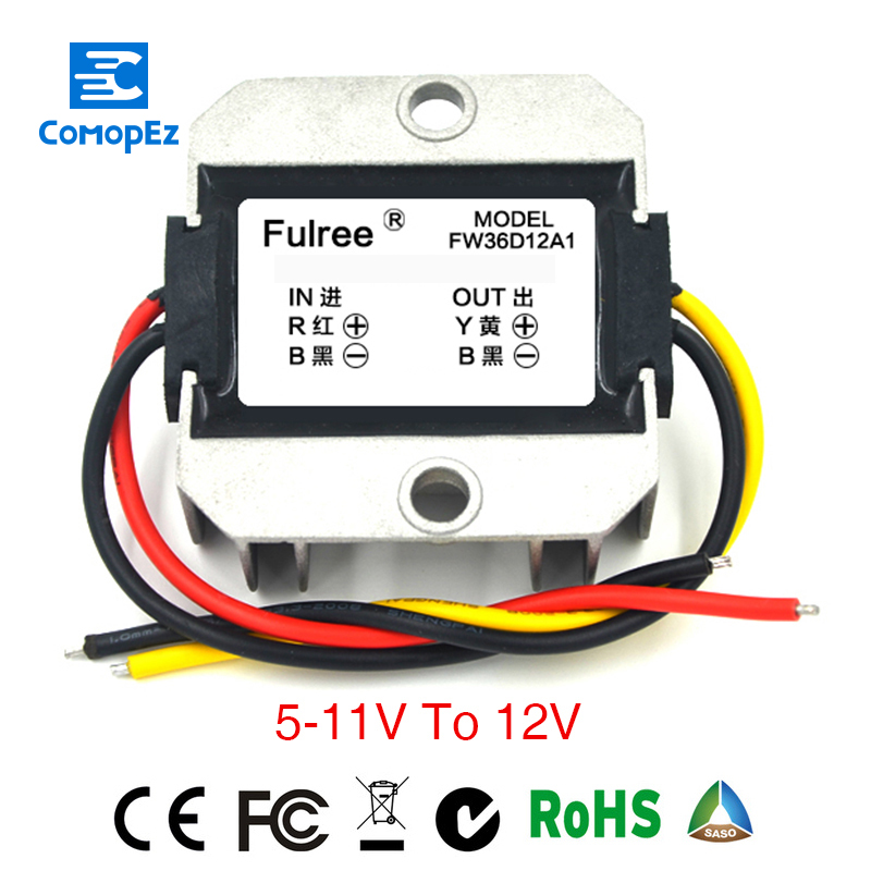 Power Supply DC/DC Step-up Converter 5V 6V 7V 8V 9V 10V 11V to 12V Waterproof Control Car Module Low Heat Auto Protection ac dc step down converter module for vehicle char module 24v to 12v 8a waterproof control car module low heat auto protection