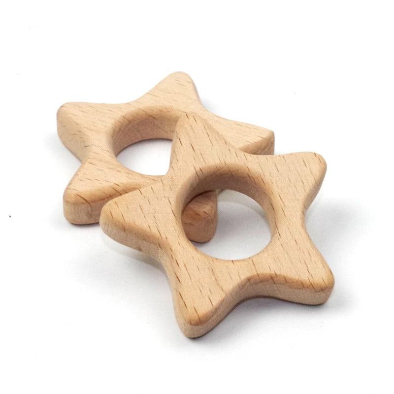 wood teether organic lucky star teething toddler sustainably harvested hardwood diy halloween/christmas decor baby teether