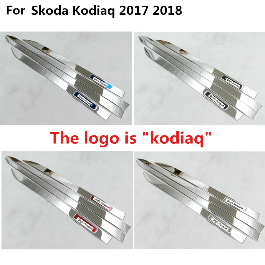 Car cover Stainless steel Side Door Body trim stick Strip Molding Stream bumper lamp panel frame 4pcs For Skoda Kodiaq 2017 2018 stainless steel body door side molding trim chrome for peugeot 508 2011 2012 13