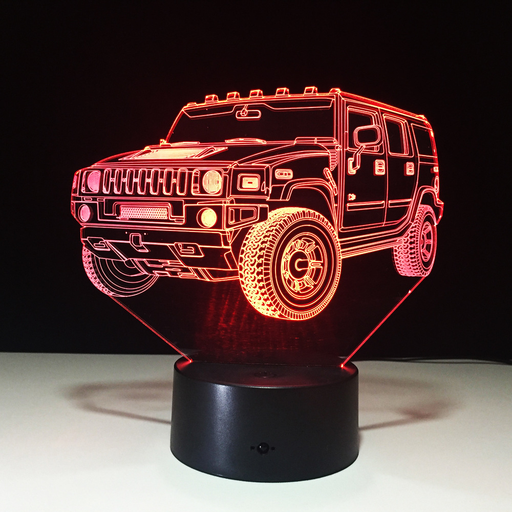 Cool SUV Car 3D Night Light 7 Color LED Table lamp Touch Switch USB New Lamp Kids Sleeping Light for Friends Christmas Gift