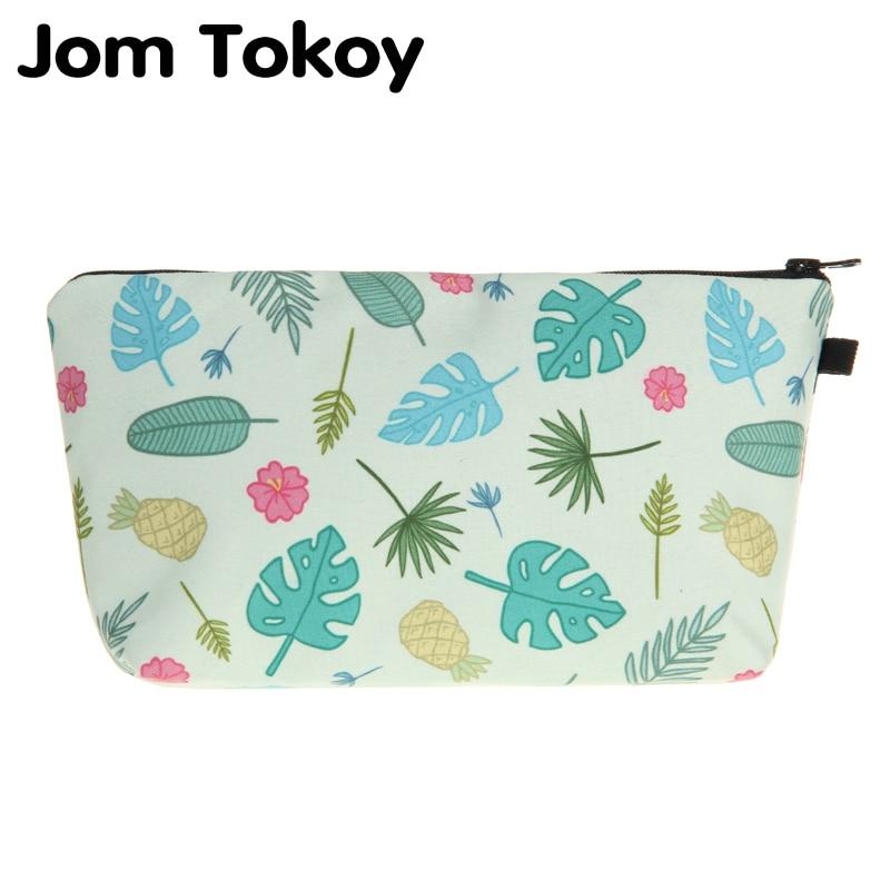 Jom Tokoy 2019 Cosmetic Organizer Bag Heat Transfer Printing Green Leaves Makeup Bag Fashion Women Brand Cosmetic Bag