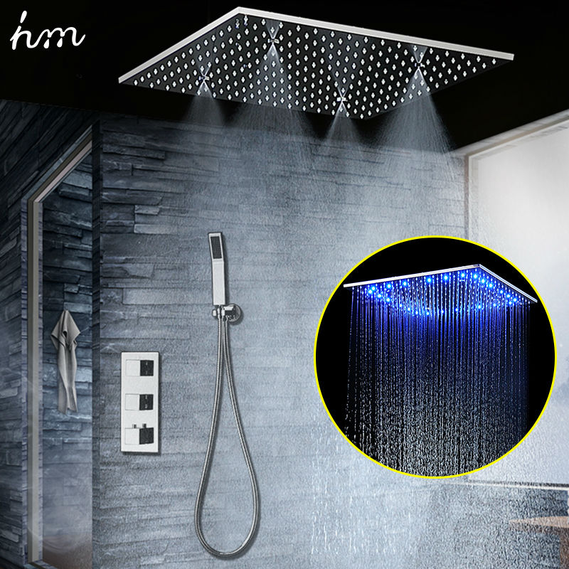 Concealed Thermostatic Shower Set SUS304 Mirror Finished Panel with 20 Embedded Ceiling LED Shower Head Rainfall Mist SPA hm