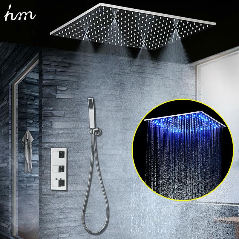 Caché Thermostatique Douche Ensemble SUS304 Miroir Fini Panneau avec 20 Intégré Plafond LED Tête de Douche Pluie Brouillard SPA hm