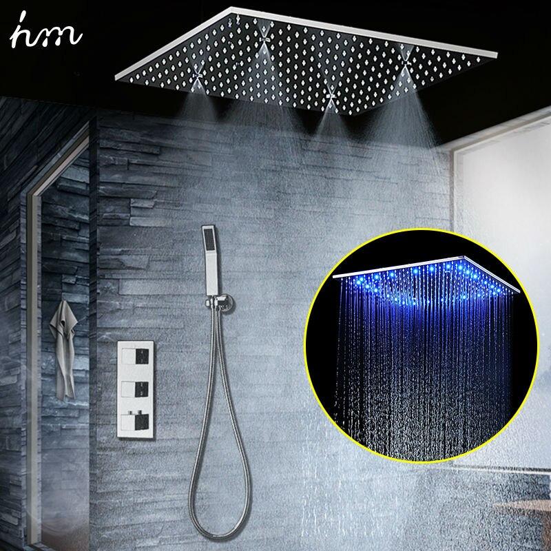 Conea светодио дный светодиодный термостатический душевой набор SUS304 зеркальная готовая панель с 20 Встроенный потолочный светодио дный свето...