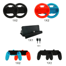 10Sets 10 in 1 Accessory Set For Switch  NS Charging Dock Stand Station  + Steering Wheel + for Joy-Con Controller Handle Grip
