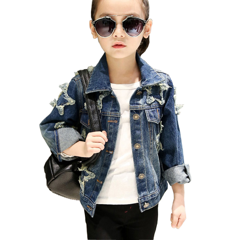 Teenage Girls Denim Jacket Kids Girls Outerwear Coat 2018 New Spring Fall Casual Star Ripped Children Girls Jeans Coat DQ978 white jeans jacket for girls denim coat spring autumn kids ripped jeans coat for boys denim coat children jackets and coat
