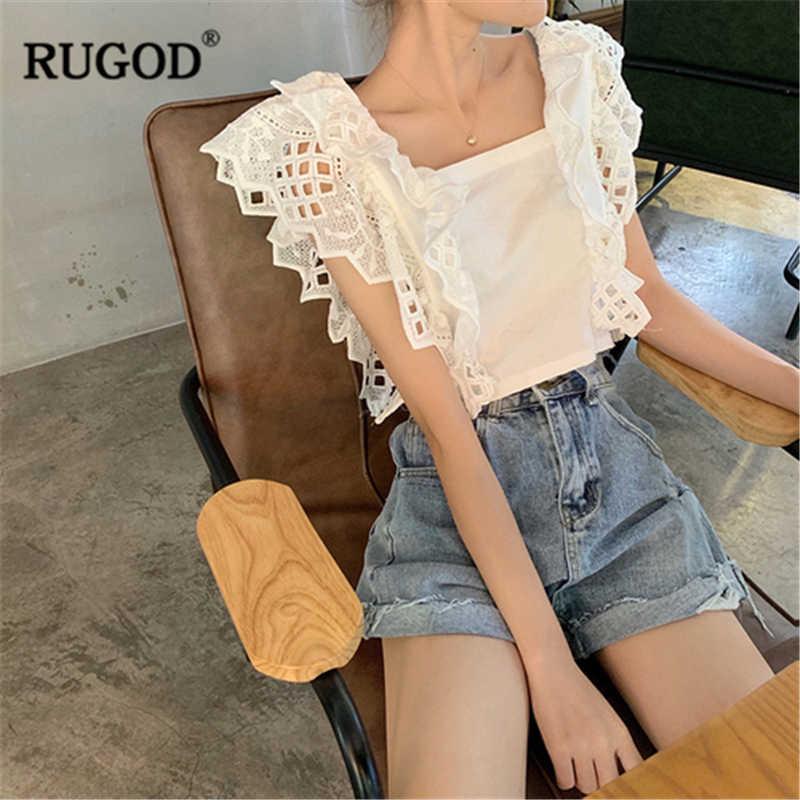RUGOD 2019 ฤดูร้อนผู้หญิงเย็บปักถักร้อยลูกไม้ Stiching สั้นเสื้อ Spaghette สายคล้องคอ Backless Bow เสื้อสไตล์ Crop Tops