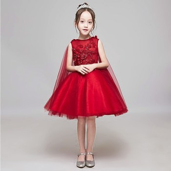 Wine Red Flower Girl Dresses with Shawl Floral Wedding Party Dress Ball Gown Appliques Kids Princess Prom Dress Birthday Gowns B