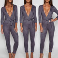Womens Grey Deep V Neck Plunge Bodycon Suede Belt Jumpsuit Sexy Party