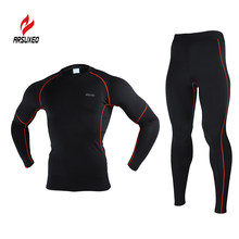 ARSUXEO Men Winter Fleece Thermal Warm Up Compression Base Layer Running Cycling Gym Bodybuilding Fitness Jersey Legging Suit(China)