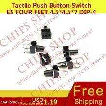 1 лот = 50 шт. Тактильные кнопочный Настенные переключатели четыре Средства ухода за кожей стоп 4.5*4.5*7 dip-4 Топ приводом черный seriestc-0516
