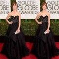 2017 golden globe awards Frances O Connor preto celebrity dresses 2017 appliqued uma linha de chiffon e talleta 2 peça vestido