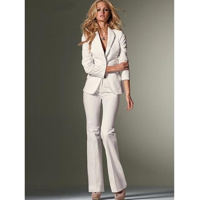 e2735d61b Trajes de pantalón de corte ajustado para mujer Formal blanco de oficina  para dama un botón