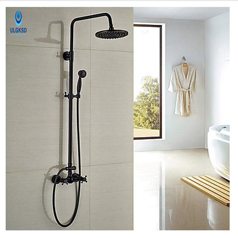 ULGKSD Fashion Shower Faucet 8 Rainfall Head +Hand shower Swivel Cross Handles Mixer Taps Black Brass