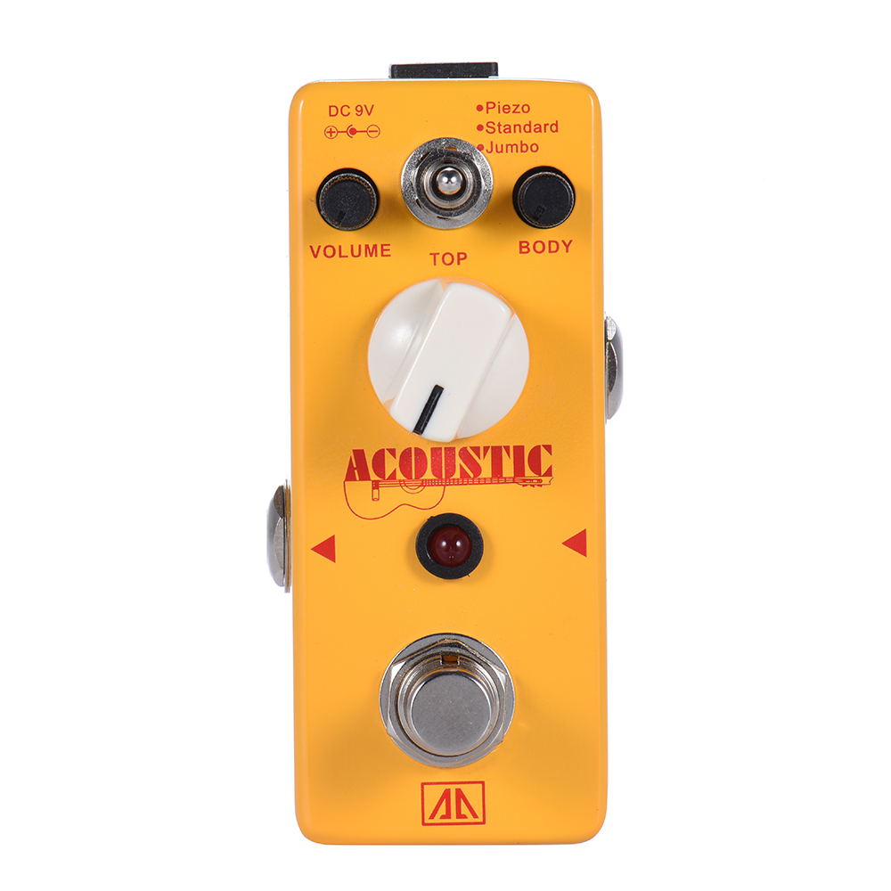 Aroma AAS-5 2 Modes Acoustic Aluminum Alloy Body Guitar Simulation Effect Pedal True Bypass Guitarra Accessory aroma ac stage acoustic guitar simulator effect pedal aas 3 high sensitive durable top knob volume knob true bypass metal shell