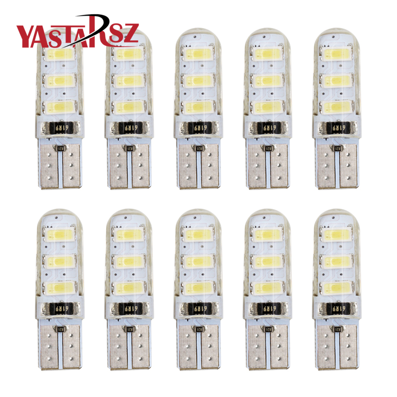 10Pcs CANBUS T10 led W5W 6led 5630 Car Led Light t10 6SMD 5730 Side Interior Lamp t10 Silicone shell License Plate Waterproof габаритные огни lx t10 10 5630 20