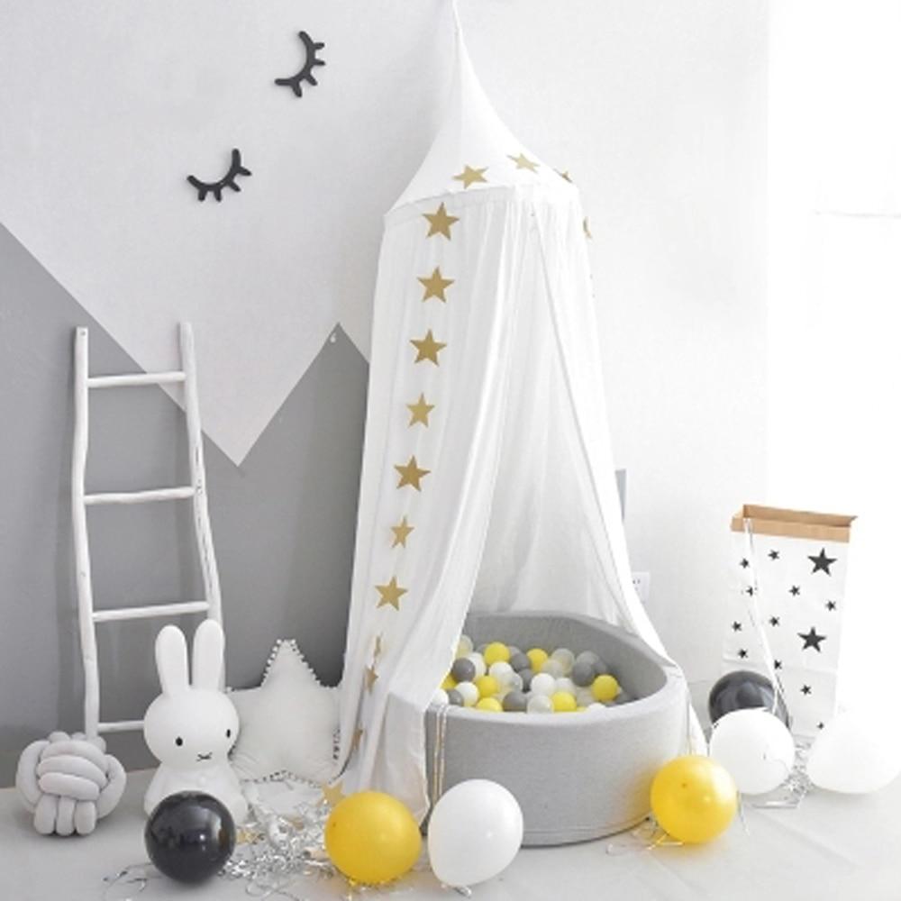 Kind Spelen Tent Ronde Bed Luifel Teepee Voor Baby Crib Gordijn Tipi Prinses Tent Kinderkamer Hang Dome Netto Kamer Decor Tenten Modieuze (In) Stijl;