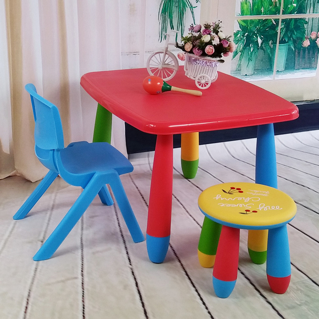 childrens table and chairs wheel chair on rent in dubai rectangular children s set kindergarten baby study color plastic