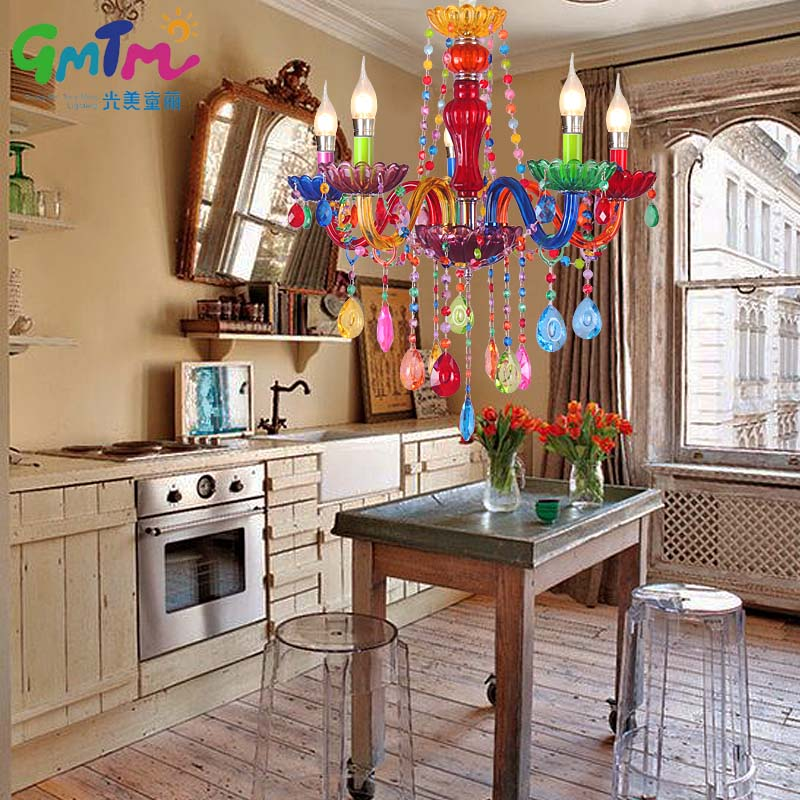 GMTM Hot Luminaire NEW Art Decoration Colorful Glass Led Crystal Chandeliers  Living Room Bedroom Restaurant Hotel Bed Chandelier In Chandeliers From  Lights ...