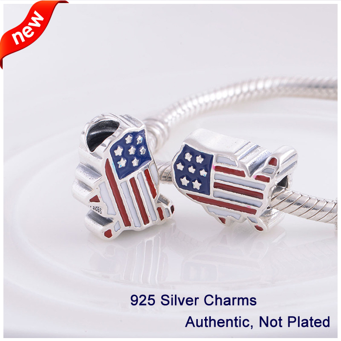 L351 Authentieke 100% 925 Sterling zilver Originele kralen Emaille VS - Fijne sieraden