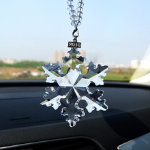 JQJ Crystal Snowflakes Ornaments Sun Catcher Snowflake Clear Crystals Car Christmas Gift Rear View Mirror Accessories