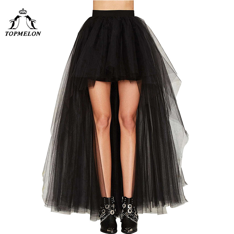 TOPMELON Women's Punk Skirt Female Gothic Tulle Skirt Summer Steampunk Long Skirt Ball Gown Black Mesh Shows Dance Party Skirts-in Skirts from Women's Clothing