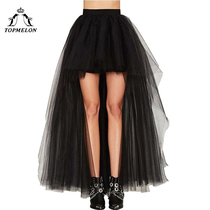 TOPMELON Women's Punk Skirt Female Gothic Tulle Skirt Summer Steampunk Long Skirt Ball Gown Black Mesh Shows Dance Party Skirts